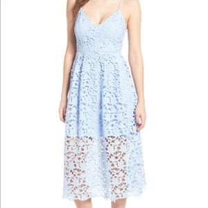 Light blue lace midi dress